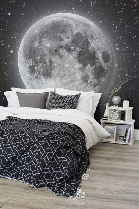 black and white space theme bedroom